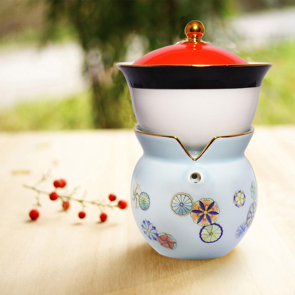 故宮神話-我是乾隆-天子之寶-紋彩-團花藍-小乾隆茶器(1壺1杯)