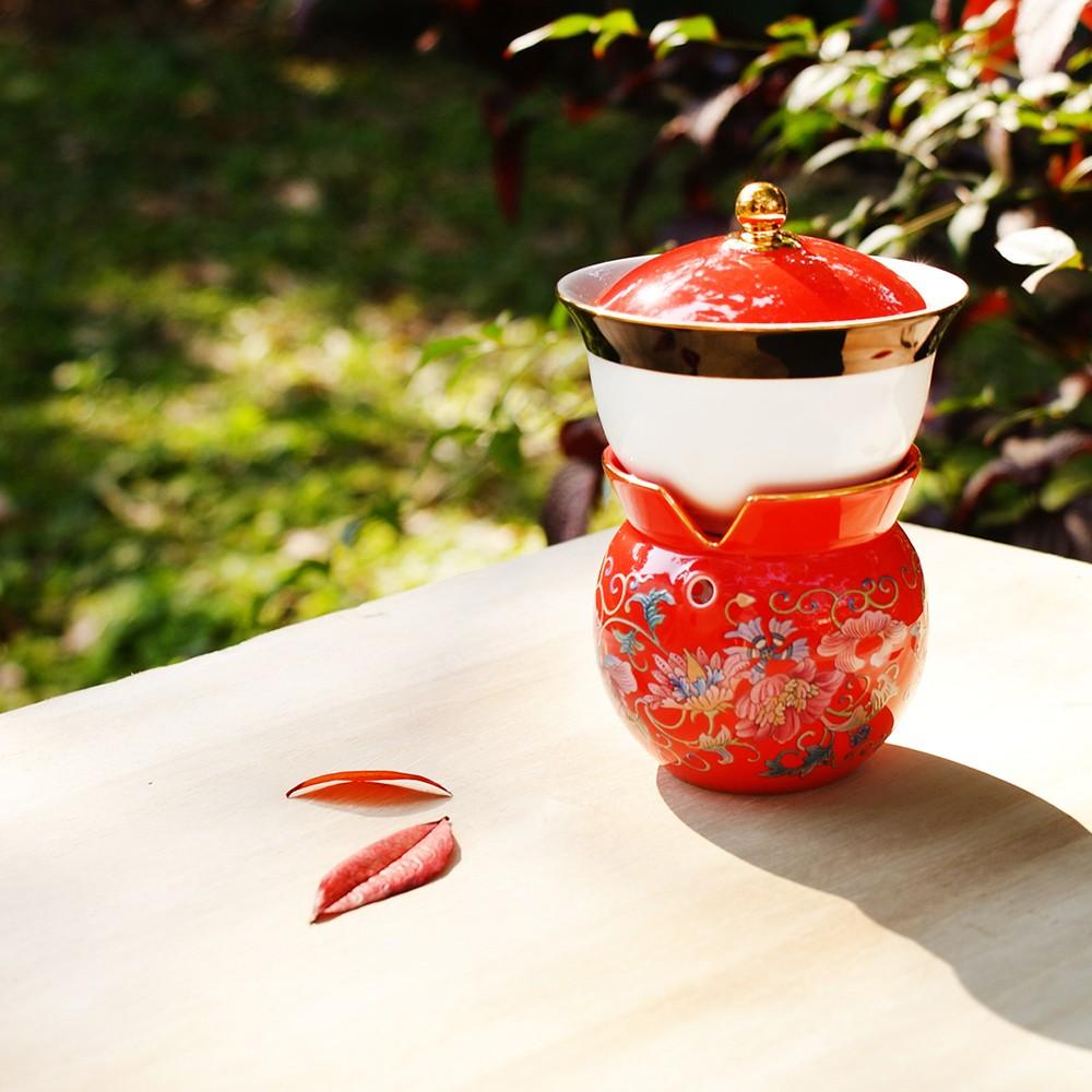 故宮神話-我是乾隆-天子之寶-紋彩-番蓮紅-小乾隆茶器(1壺1杯)