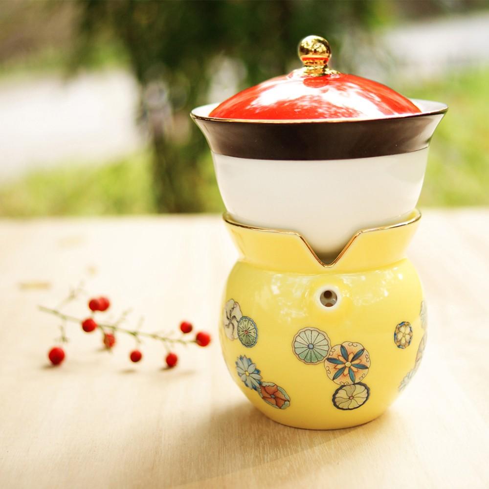 故宮神話-我是乾隆-天子之寶-紋彩-團花黃-小乾隆茶器(1壺1杯)