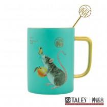 鼠來保-馬克杯-絲布禮盒-福 (杯緣及手把均為24K手工描金)