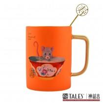 鼠來保-馬克杯-絲布禮盒-壽 (杯緣及手把均為24K手工描金)