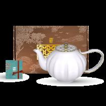 花窗舞影-富貴菱花.西式茶壺
