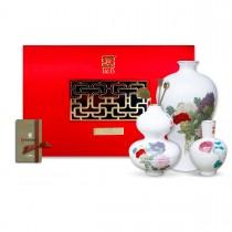 故宮神話-文人三雅-牡丹禮盒組(香具 茶器 花器)