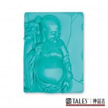 白玉瓷雕綺彩系列-彌勒佛(藍)