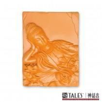 白玉瓷雕綺彩系列-蓮臥觀音(紅)