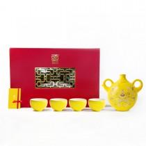 新乾隆美學-滿月壺茶具組4人-輝黃鳳蓮(1壺4杯)