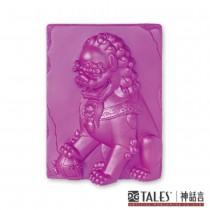 白玉瓷雕綺彩系列-雄獅(紫)