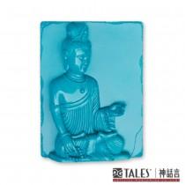 白玉瓷雕綺彩系列-文殊菩薩(藍)