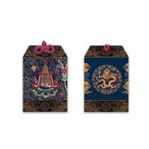 龍藏萬福-八吉祥刺繡平安符-藍-勝利幢