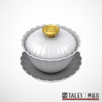 故宮神話‧鏡花舞影‧金英雅菊-蓋碗-故宮經典系列