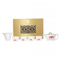 桃喜-馬鞍壺茶具組-齊白石(1壺4杯1茶海)
